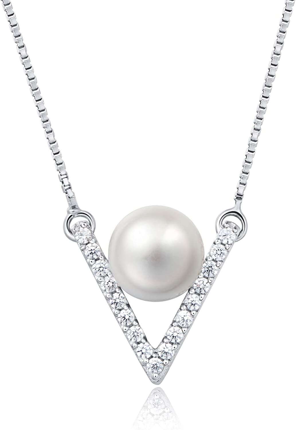 Molah 925 Silver Cultured Freshwater Pearl and Cubic Zirconia Chevron Necklace