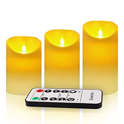Evenice Flameless Candles Flickering LED Candles Vanilla Scented Pillar Candles Flame Remote Candles Battery Wax Decorative with Timer and 10-Key Ivory White Set of 3: Home Improvement