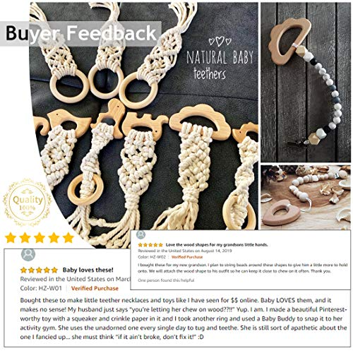 Promise Babe Baby Wooden Teether 11pc Wood Teething Toy Nature Beech Animals Teething Relief Toys DIY Bracelet Necklace Teething Jewelry Accessories