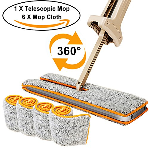 Double Sided Lazy Mop, Microfiber Spray Mop, 360 Spin and Automatic Squeeze 15 Inch (38cm) Cloth Mop for Cleaning Corner, Bathroom, Kitchen, Tile and Hardwood Floor (Telescopic Mop+ 4Pcs Mop (Telescopic Spray)