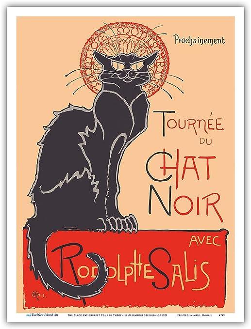 Set of 3 Vintage French Cafe The Black Cat Chat Noir Art Poster Print Framed