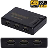Dorros HDMI セレクター HDMI 切り替え 5入力1出力 HDCP 2.2 4K@60HZ 18.5Gbps 3D Ultra HDサポート PS3 PS4 PS4pro NintendSwitch Xbox Fire TV Apple TV Roku Blu-rayなど対応 HDMI 切替器 分配器 HDMI スイッチ 自動手動切り替え リモコン付き USB給電ケーブル付き 【1年安心保障付き】