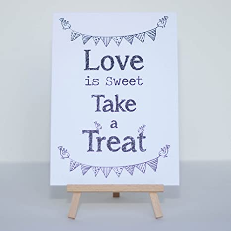 Cartel para mesa de dulces, blanco con frase