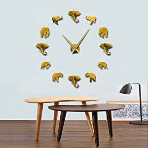 The Geeky Days Jungle Animals Elephant DIY Large Wall Clock Home Decor Modern Design Mirror Effect Giant Frameless Elephants DIY Clock Wall Watch (Gold)