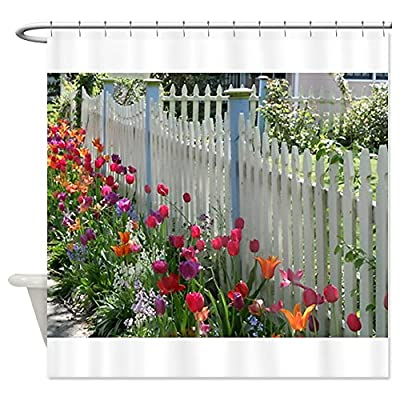 CafePress Tulips Along White Picket Fence Shower Curtain
