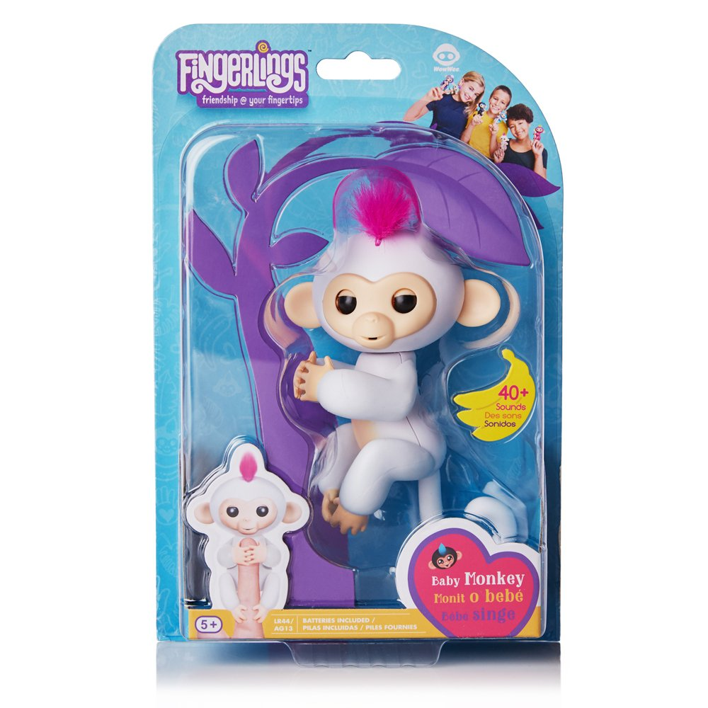 Interactive Baby Monkey Black with Blue Hair Fingerlings Finn By WowWee WowWee Import 3701