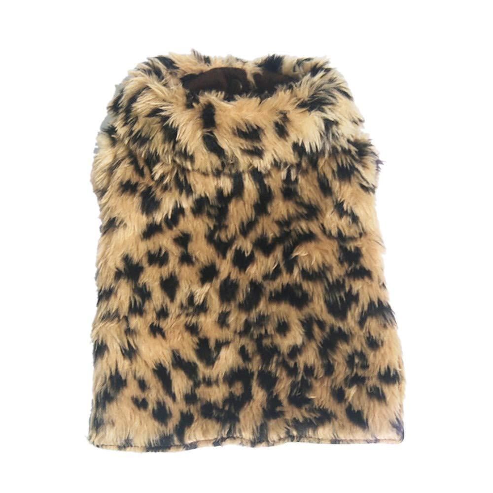 Armilum Leopard Printed Pet Cat Dog Coat,Novel Pet Clothes for Puppy Small Large Dog for Warm Christmas