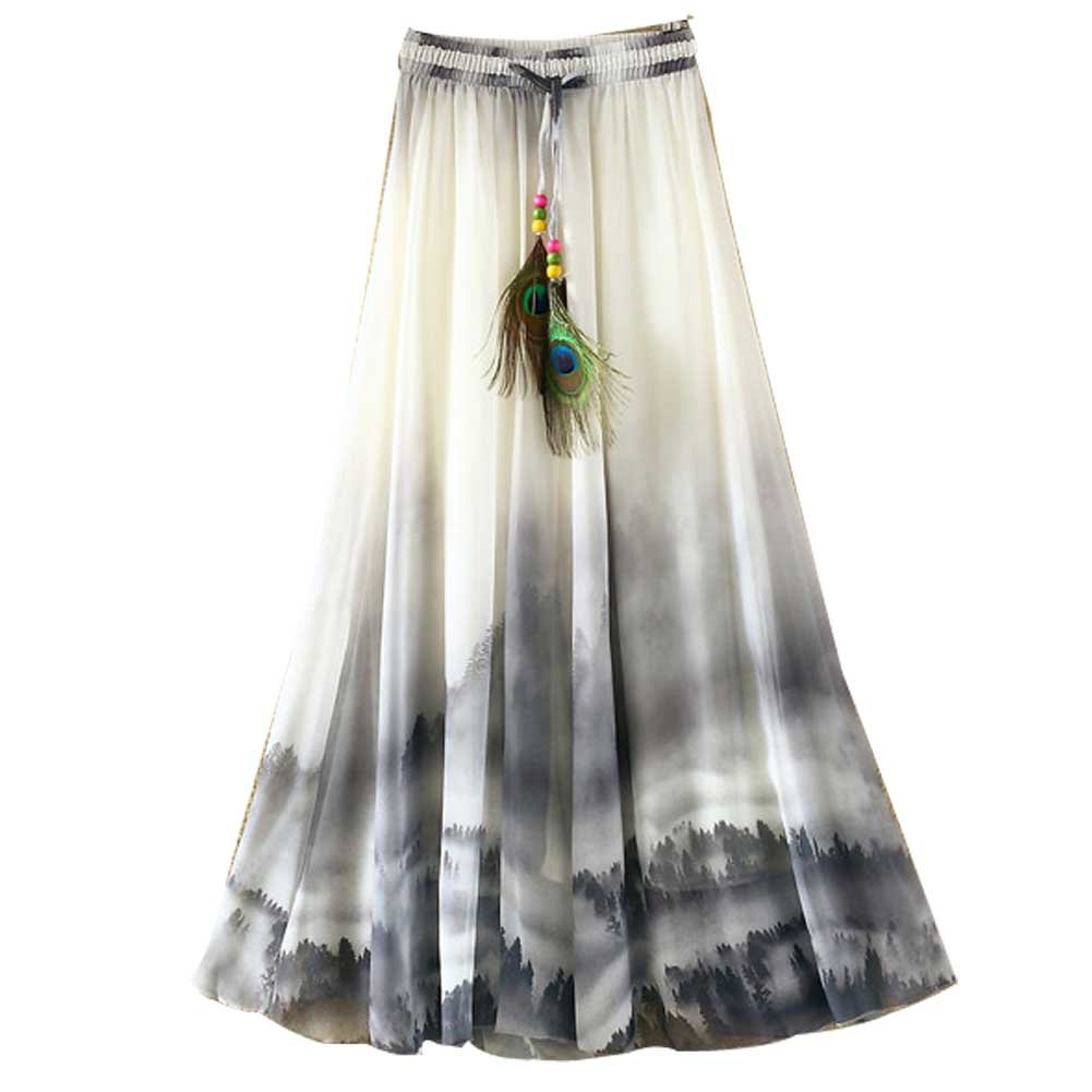 Ashir Aley Summer Floral Flowy Chiffon Long Maxi Skirt (Grey)