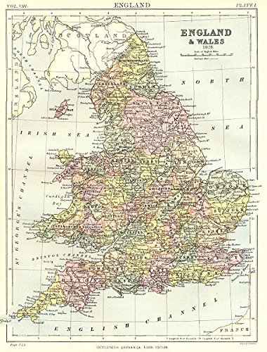 England Wales In 1878 Showing Counties Britannica 9th Edition