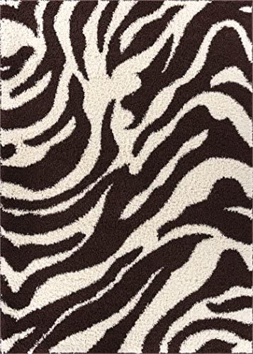 Zebra Shag Brown Ivory Plush Modern Animal Print 2×3 2 x 3 Area Rug Easy to Clean Stain Fade Resistant Thick Soft