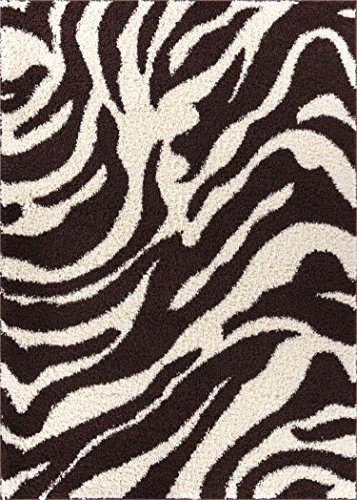 Brown Striped Rug - Zebra Shag Brown & Ivory Plush Modern Animal Print 2x3 (2' x 3') Area Rug Easy to Clean Stain/Fade Resistant Thick Soft
