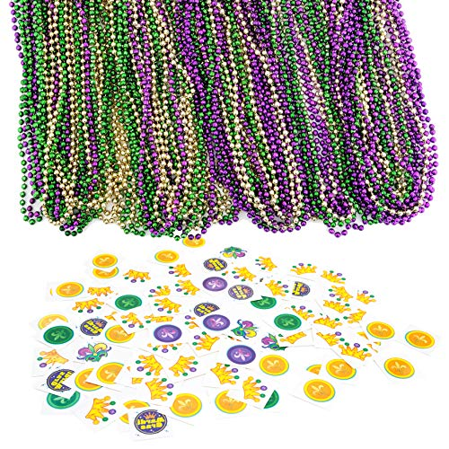 JOYIN 96 Pieces Mardi Gras Beads Beaded Necklace with 192 Temporary Tattoos Mardi Gras Party Favors Accessory and -