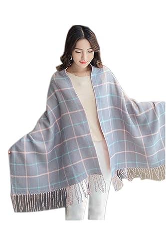 La Mujer De Invierno Cálido Fringe Big Red Tartan Borlas Elegante Espesar Blanket Wrap Chal Bufanda