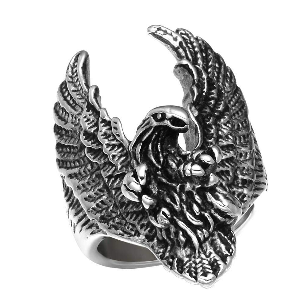 Dixinla Rings Steel , European Men's Fashion Domineering Punk Rock Style Eagle Titanium Steel Ring Jewelry Gift for Family or Friends