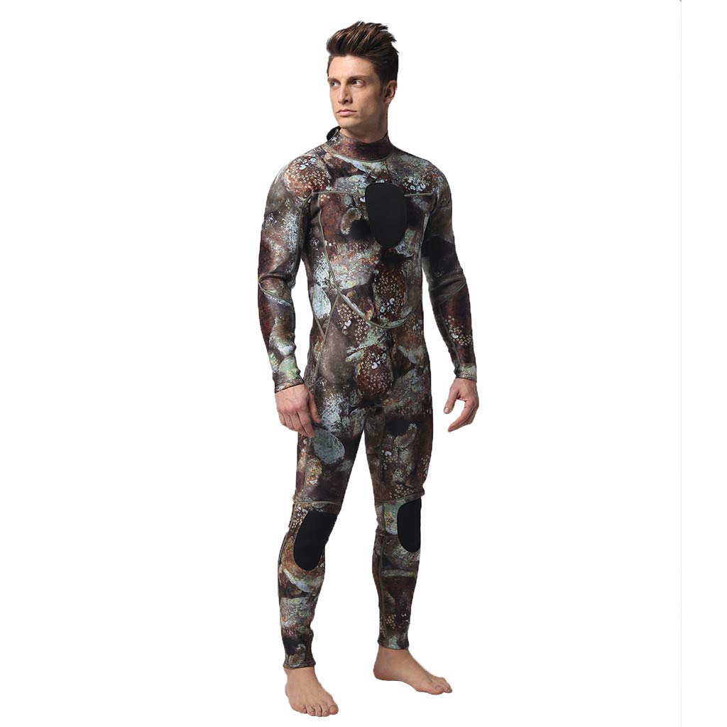 Pandaie Mens Wetsuit Full Body 3MM Neoprene Thermal Unisex Camo Diving Suit Free Diving Spearfishing Underwater Wetsuit by Pandaie