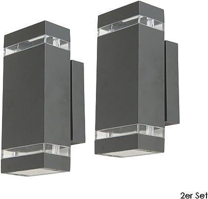 Lámpara LED exterior Focus en un juego de 2 unidades, rectangular, Aluminio Fundido, IP44, Fachada iluminación, UP & Downlight: Amazon.es: Iluminación