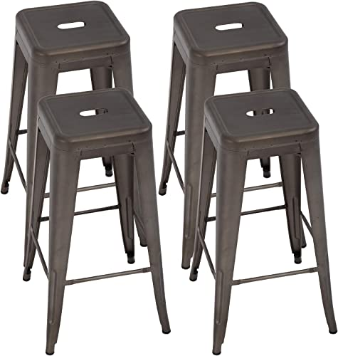 Reviewed: Metal Bar Stools Set of 4 Counter Height Bar Stool 30 Barstools Industrial Patio Stool Stackable Stool Modern Backless Indoor/Outdoor Metal Bar Kitchen Counter Stools Chairs