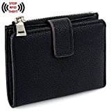 UTO Women's RFID Blocking PU Leather Wallet Card Holder Organizer Girls Small Cute Coin Purse with Snap Closure A Black