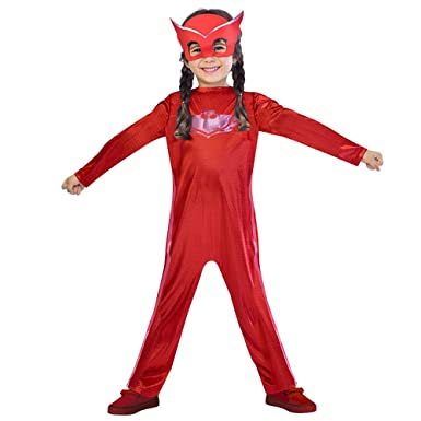 GREATCHILDREN PJ Costumes Masks Girls Cosplay Costumes Red Jumpsuits and Mask Halloween Streetwear Pajama Hero Costumes