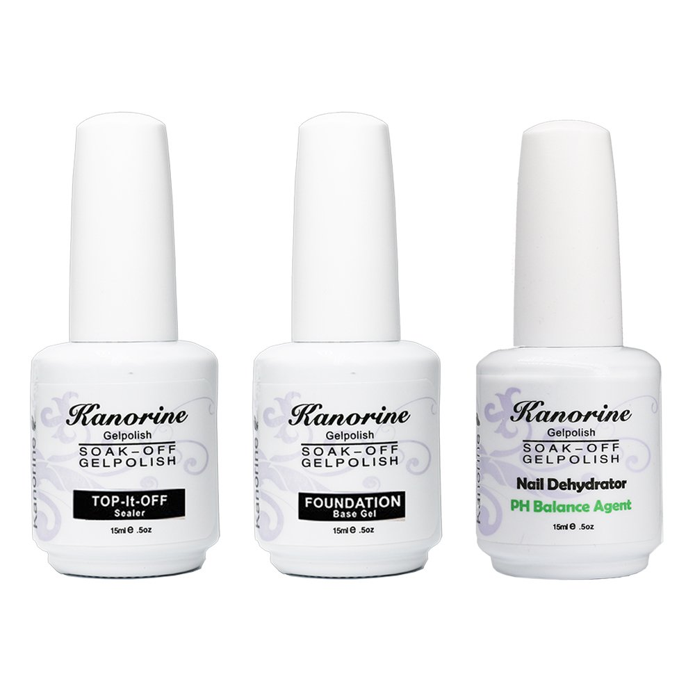 Kanorine Soak Off Gel Polish Nail Art Base Foundation Coat + No Wipe Top Coat 15ml + PH Balancing Agent 15ml (Base+Top+PH Balance Agent)