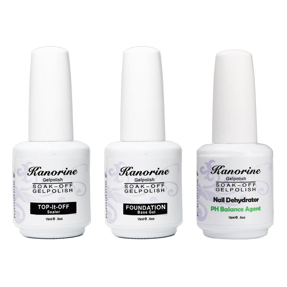 Kanorine Soak Off Gel Polish Nail Art Base Foundation Coat + No Wipe Top Coat 15ml + PH Balancing Agent 15ml (Base+Top+PH Balance Agent)