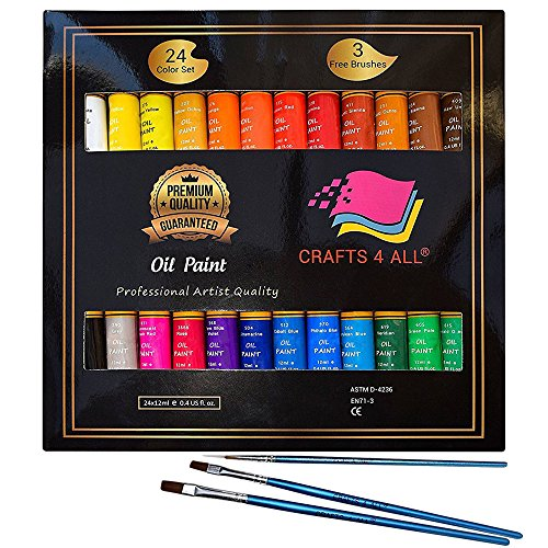 Oil Paints Set 24 Colors Premium Quality Oil Painting Kit for Artist,Students & Beginners - Perfect for Landscape and Portrait Paintings on Canvas by Crafts 4 All (Oil Supply Kit)