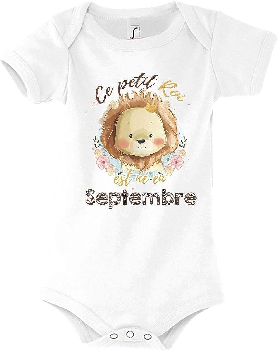 V/êtement B/éb/é Gar/çon Mois danniversaire Body B/éb/é Ce Petit Roi est n/é en Septembre Collection Nouveau n/é Lion Mignon Animaux