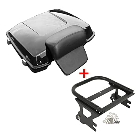 TCMT Razor Tour Pak Pack Trunk Detachable Two-Up Rack Backrest Fits For Harley Touring 97-08 Style B