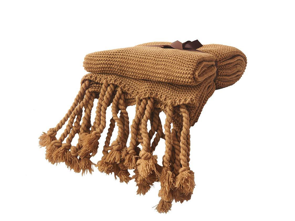 Cozy Chunkyニット装飾Throw Blanket with Braidedフリンジオールシーズン用のソファ51
