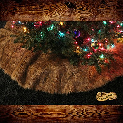 Classic Log Cabin Lodge Country Christmas Tree Skirt Light Brown Wolf Coyote Premium Quality Faux Fur Round (6' Diameter) by Fur Accents (Image #2)