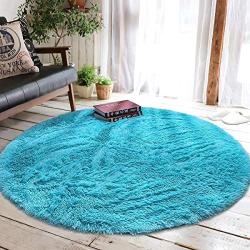 (Junovo Round Fluffy Soft Area Rugs for Kids Girls Room Princess Castle Plush Shaggy Carpet Baby Room Decor, Diameter 4ft Blue)