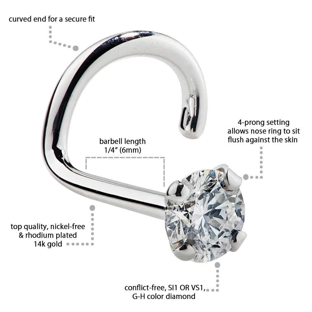 KIMANA Women Nose Bone Ring Stud 2mm 0.03 Ct Diamond 14K White Gold Twist Screw Nose Ring 20G