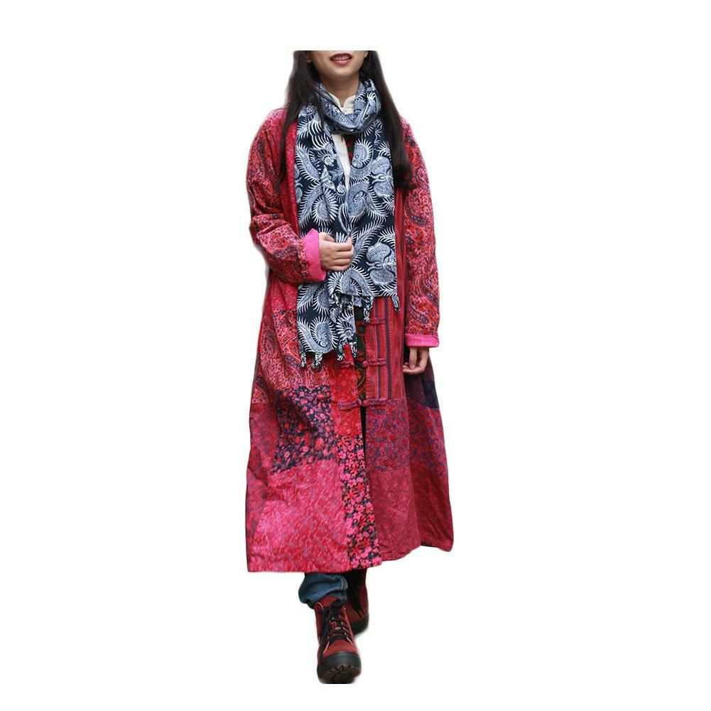 LZJN Women's Long Coat Floral Print Jacket Chinese Style Outwear (A)