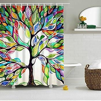 newrara colorful tree 3d digital printing shower curtain waterproof bathroom curtains hooks included 72 - Colorful Shower Curtains