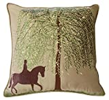 Rightside Design P0911HWR Outdoor Sunbrella Under The Willow Horse with Rider Pillow
