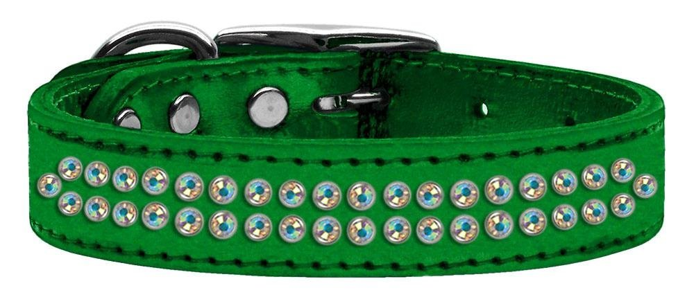 16\ Mirage Pet Products Two Row Aurora Borealis Crystal Metallic Leather Emerald Dog Collar, 16