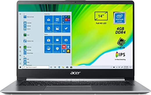 "Acer Swift 1 SF114-32-P25J PC Portatile, Notebook, Processore Intel Pentium N5000, Ram 4 GB, 128 GB SSD, Display 14"" FHD IPS LED, 1.3 Kg, Batteria 16 ore, Windows 10 Home in S mode, Spessore 14.95mm"