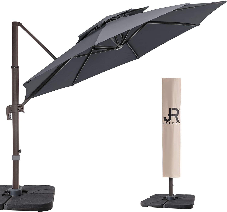 JEAREY 11 Feet Double Top Round Deluxe Patio Umbrella Offset Hanging Umbrella Cantilever Patio Umbrella Outdoor Market Umbrella Garden Umbrella