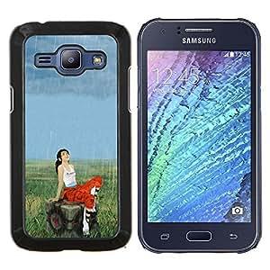 /Skull Market/ - Aperture Girl & Rain For Samsung Galaxy J1 J100 J100H - Mano cubierta de la caja pintada de encargo de lujo -