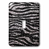 zebra print wall pics - 3dRose LLC lsp_113176_1 Silver and Black Zebra Print Faux Bling Photo Not Actual Glitterm Fancy Diva Girly Sparkly Sparkles Single Toggle Switch