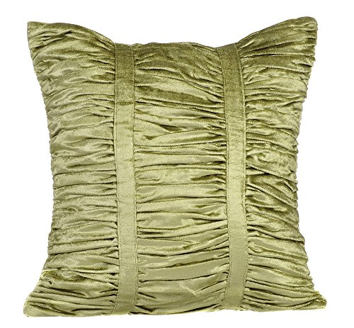 Handmade Sage Green Euro Shams, 26x26 Inch Euro Sham, Textured Pintucks Solid Color Euro Pillow Shams, Square Velvet Euro Sham, Striped Contemporary Euro Shams - Sage Green Beauty (Sage Euro Sham)