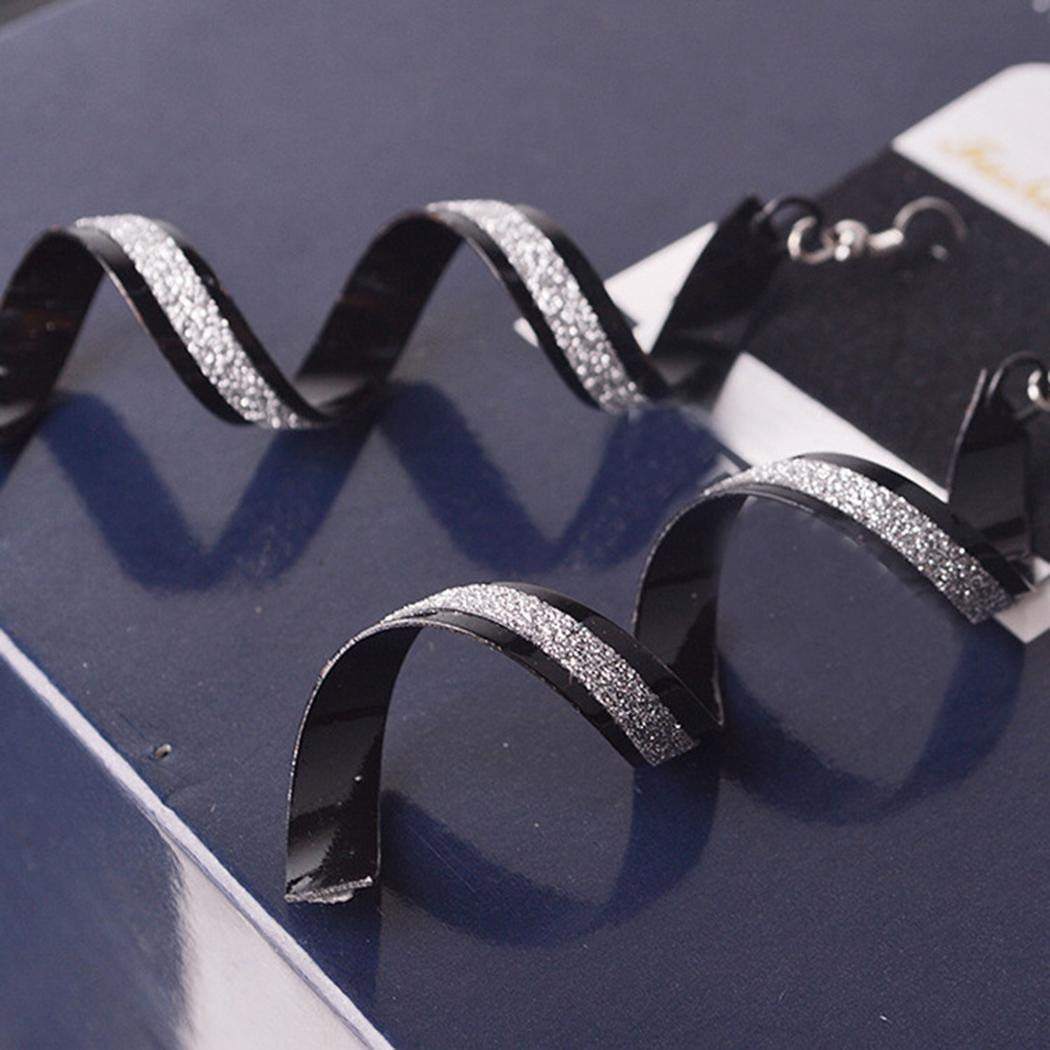 Wareg Geometric Spiral Personality Long Drop Hook Earrings Women Jewelry Accessories Drop & Dangle