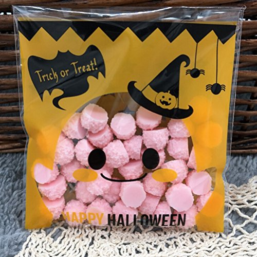 Saasiiyo 100 Pcs Halloween Yellow pumpkin Gifts Bags Plastic Clear DIY Candy Cookies Birthday Party Craft Bags Packaging (Halloween Costumes Nyc Rent)