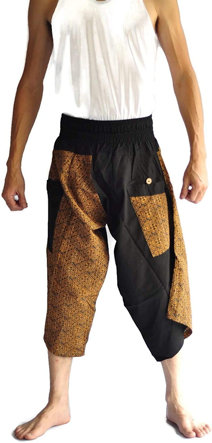 Siam Trendy Mens Japanese Style Pants One Size Brown and Leaf Star Design