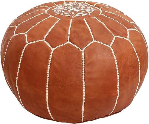 Baba Souk Moroccan Leather Pouf – Tan