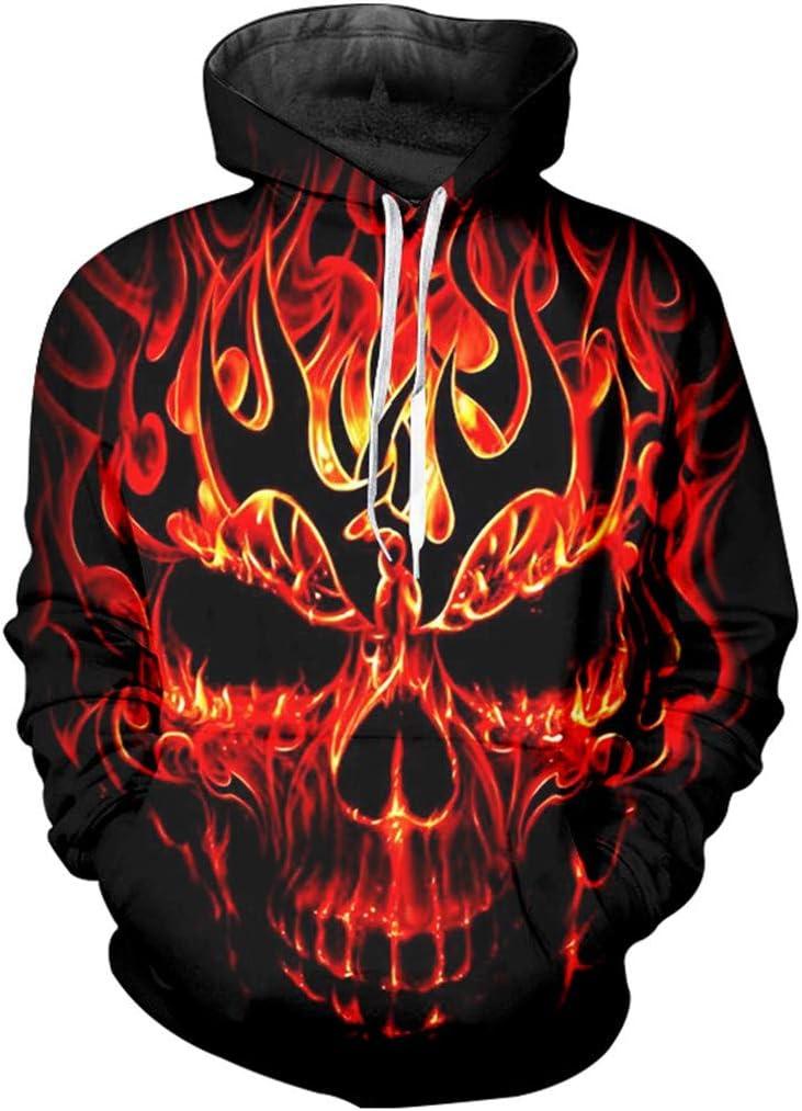 Hip Hop Hoodie Mens Print Red Fire Skull 3D Sweatshirt Punk Long Sleeve Hooded Pullovers Red L