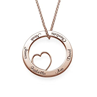 amazon com mynamenecklace personalized rose gold engraved circle of