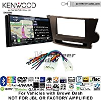Volunteer Audio Kenwood Excelon DNX994S Double Din Radio Install Kit with GPS Navigation Apple CarPlay Android Auto Fits 2008-2013 Non Amplified Toyota Highlander (Brown)