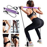 YCKJDM Portable Pilates Bar Kit with Resistance Band, Home Yoga Exercise Pilates Bar with Foot Loop Yoga Pilates Stick…