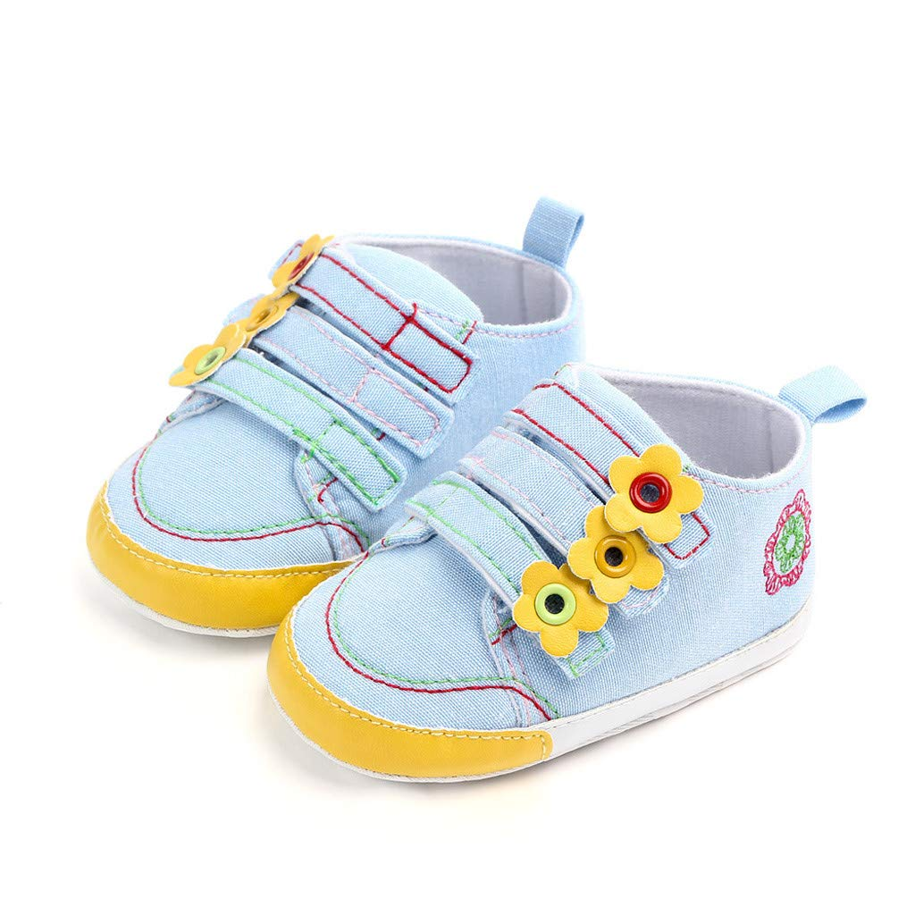 NUWFOR Newborn Baby Candy Color Striped Mesh First Walkers Soft Sole Casual Shoes(Yellow,12-18 Months)